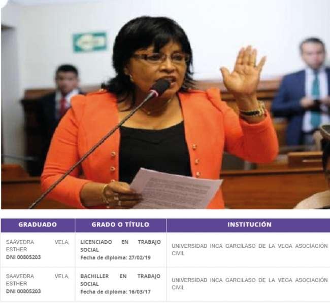 Página de SUNEDU: Esther Saavedra es licenciada en Trabajo Social