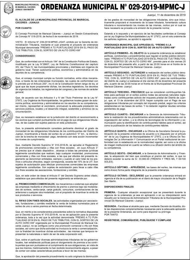ORDENANZA MUNICIPAL N° 029-2019-MPMC-J
