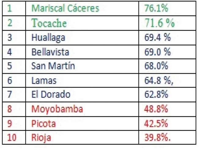 Rioja, Picota y Moyobamba con menor ejecución presupuestal