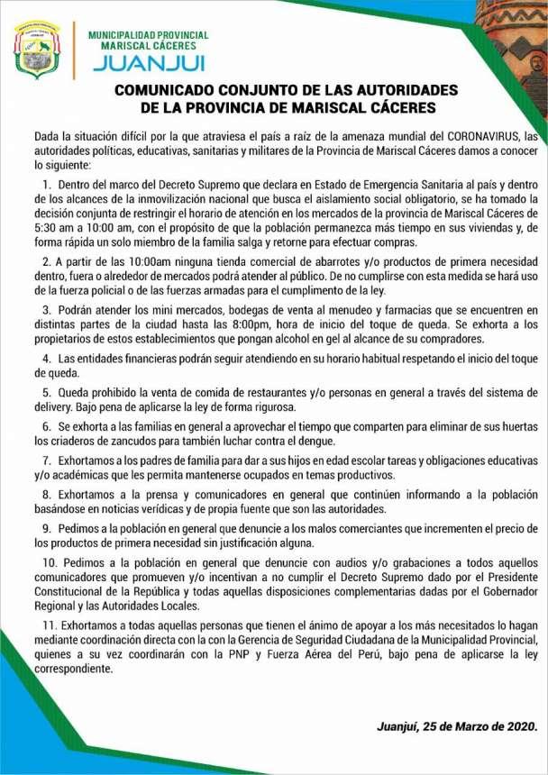 Últimas disposiciones de las autoridades de la provincia de Mariscal Cáceres, en el marco del estado de emergencia.