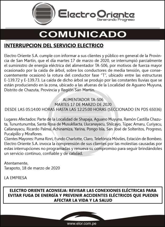 COMUNICADO ELOR – INTERRUPCION DEL SERVICIO ELECTRICO