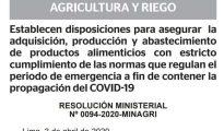 Establecen disposiciones para asegurar la adquisición, producción y abastecimiento de productos alimenticios