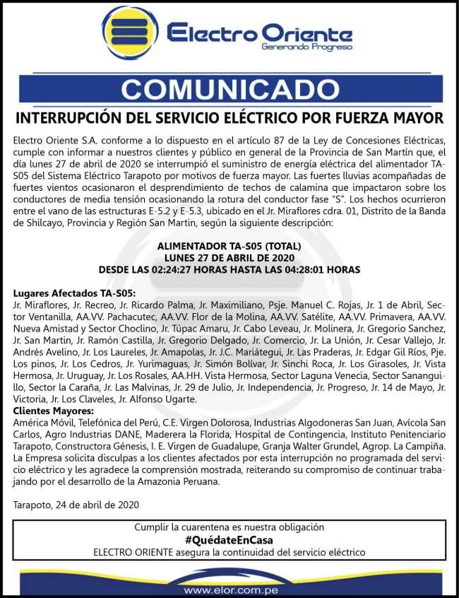 Electro Oriente Comunica miércoles 29 abril 2020
