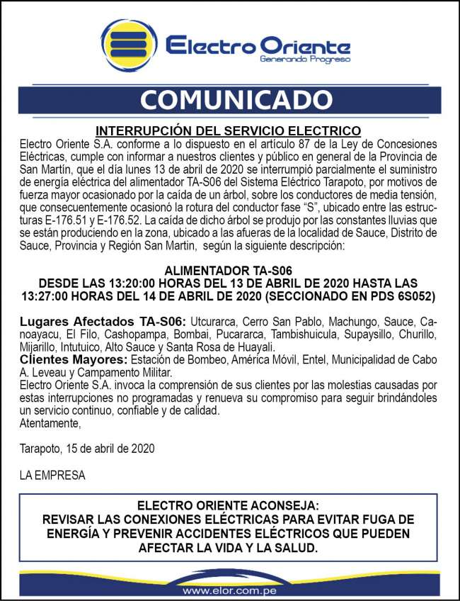 Electro Oriente Comunica. Comunicado 1 del 16 de abril