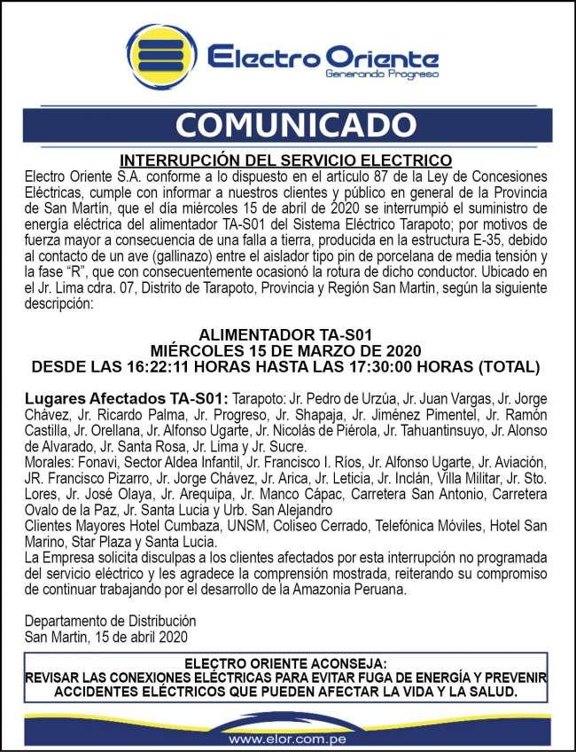 Electro Oriente Comunica. Comunicado 2 del 16 de abril