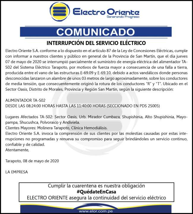 Electro Oriente Comunica. Sábado 9 de mayo 2020