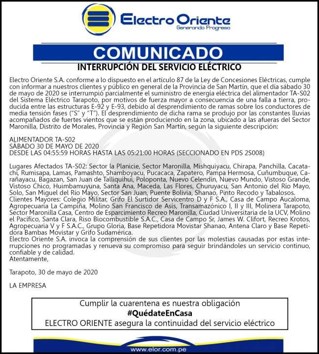 Electro Oriente Comunica. Interrupción de Servicio Eléctrico