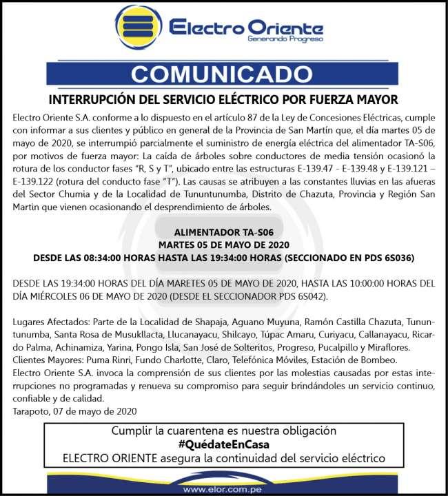 ELECTRO ORIENTE COMUNICA Viernes 8 de mayo 2020