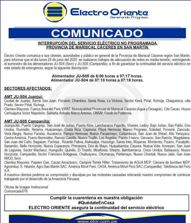 Electro Oriente: Comunicado. Mariscal Cáceres