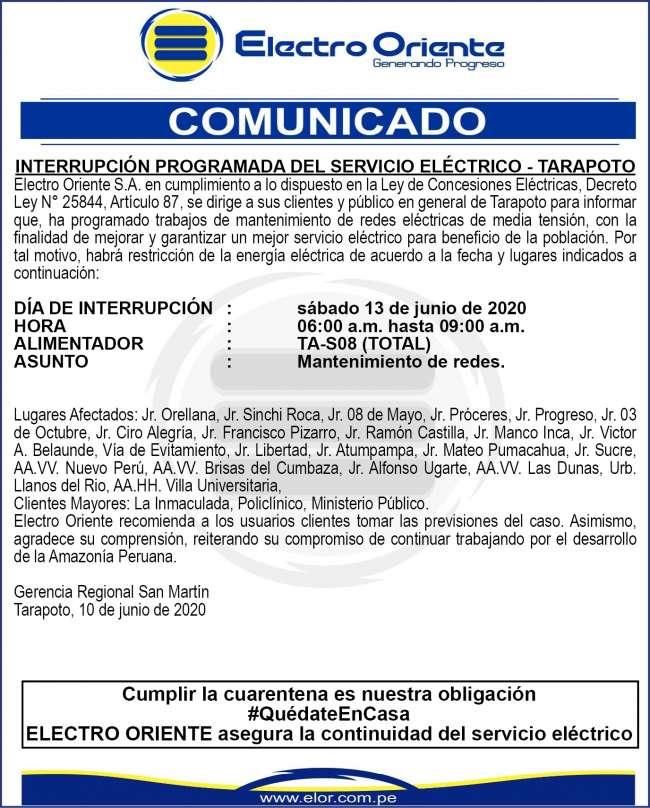 Electro Oriente. INTERRUPCIÓN PROGRAMADA DEL SERVICIO ELÉCTRICO – TARAPOTO. 1