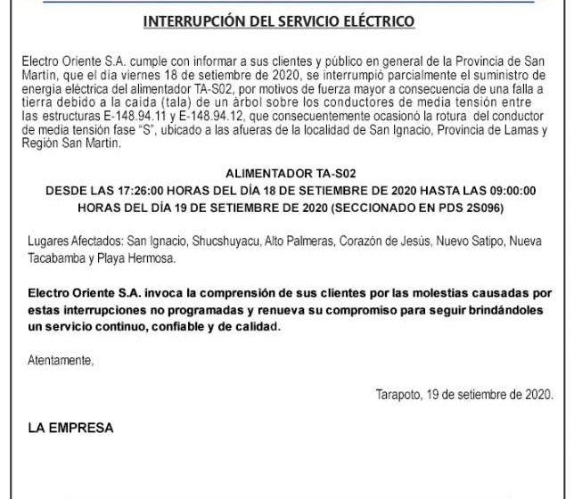 Electro Oriente: INTERRUPCIÓN DEL SERVICIO ELÉCTRICO