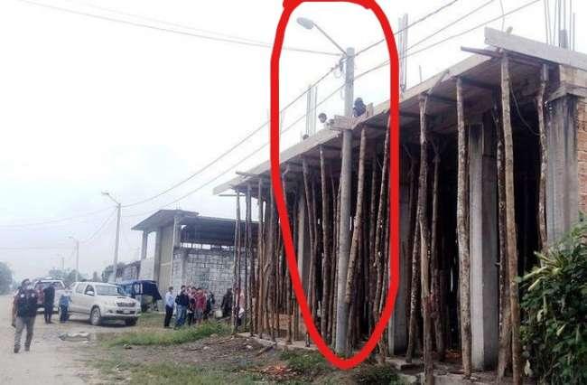 Municipalidad y Electro Oriente paralizaron obra por alto riesgo y no contar con licencia de construcción