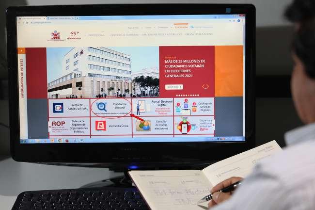 JNE habilita plataforma electoral para elecciones generales 2021