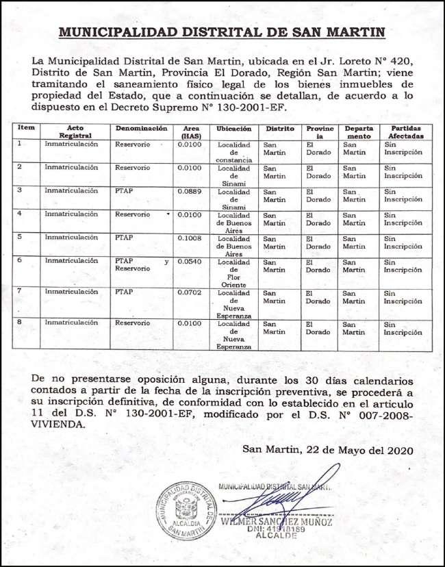 Municipalidad Distrital de San Martín Informa