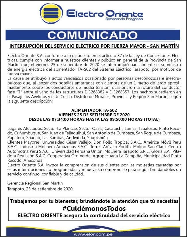 Electro Oriente Comunica: INTERRUPCIÓN DEL SERVICIO ELÉCTRICO POR FUERZA MAYOR – SAN MARTÍN