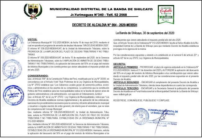 Resolución de Alcaldía N°004 – 2020 – MDBSH