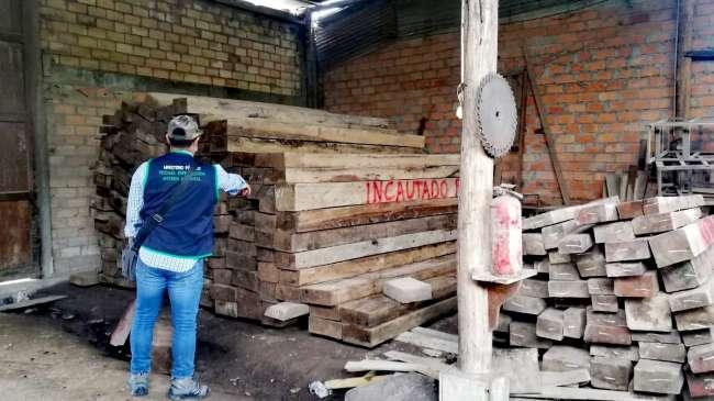 Nueva Cajamarca: Fiscalía Ambiental de Moyobamba incautó más de 8 mil pies tablares de madera ilegal