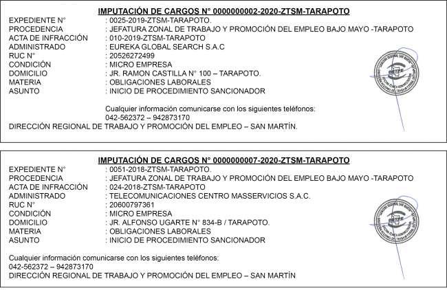 IMPUTACIONES DE CARGOS-ZTSM-TARAPOTO
