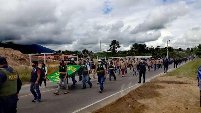 Dirigen acciones preventivas durante marcha de protesta convocada por rondas campesinas a nivel nacional