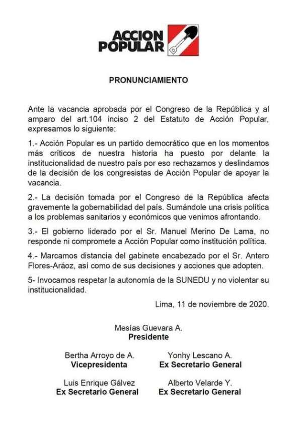 Acción Popular: Gobierno de Merino no nos compromete como partido