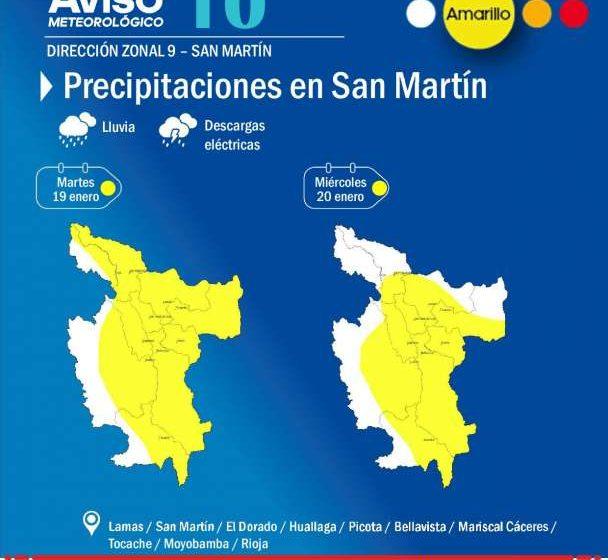 Senamhi Informa: Precipitaciones en San Martín hoy y mañana