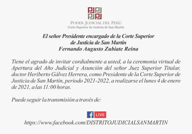Ceremonia de apertura del Año Judicial 2021 y asunción del nuevo presidente de la Corte Superior de Justicia de San Martín, será el lunes 4 de enero