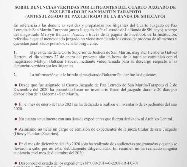 SOBRE DENUNCIAS VERTIDAS POR LITIGANTES DEL CUARTO JUZGADO DE PAZ LETRADO DE SAN MARTÍN TARAPOTO (ANTES JUZGADO DE PAZ LETRADO DE LA BANDA DE SHILCAYO