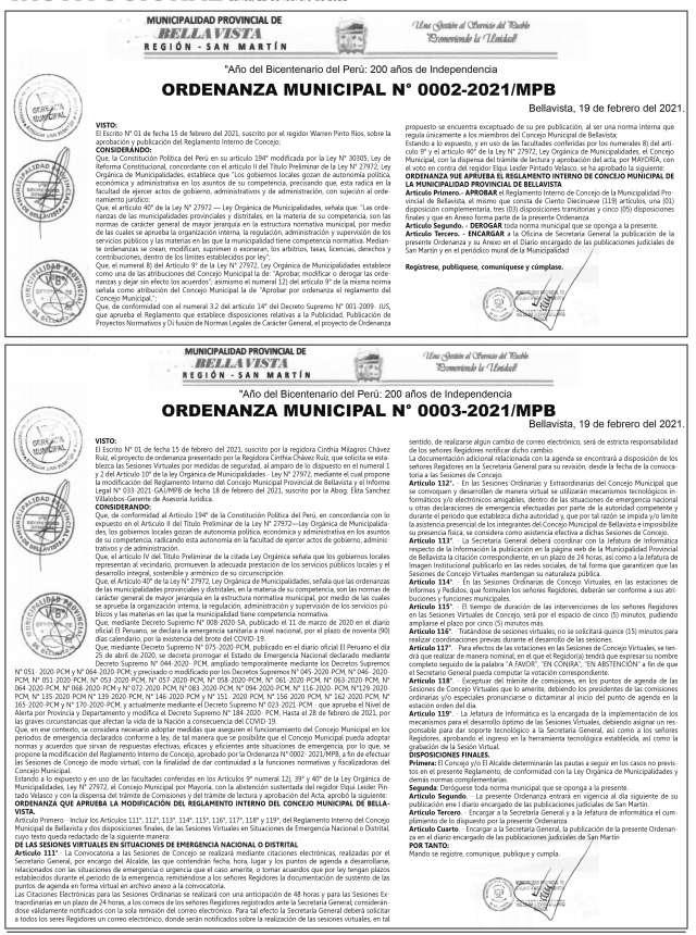 Ordenanza Municipal Nº 0002-2021/MPB – Ordenanza Municipal Nº 0003-2021/MPB Municipal de Bellavista