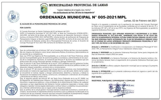 Municipalidad Provincial de Lamas: Ordenanza Municipal Nº 005-2021/MPL
