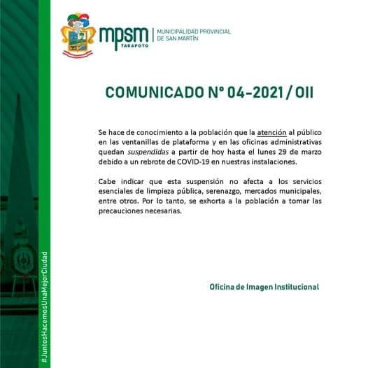 MPSM suspende atención al público por casos confirmados de COVID