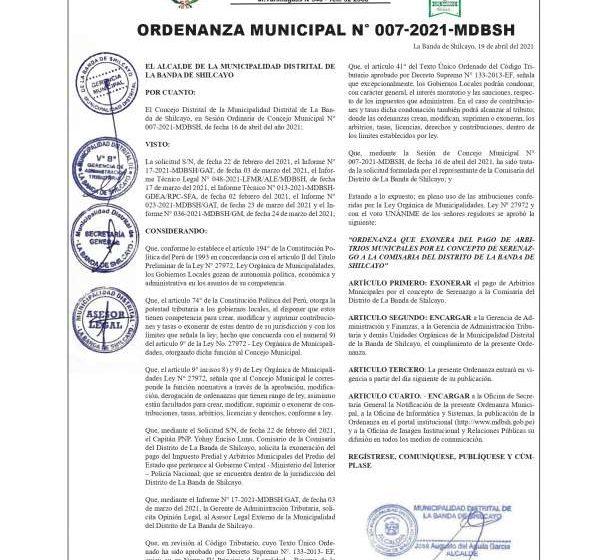 ORDENANZA MUNICIPAL Nº 007-2021-MDBSH