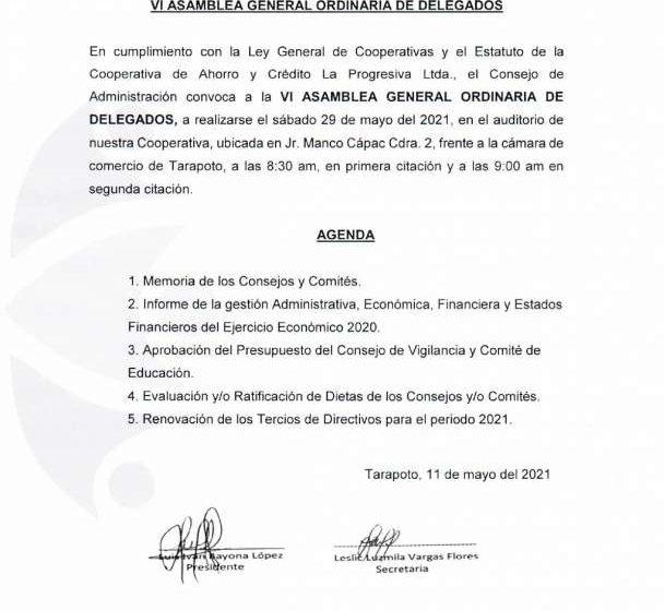COOPAC Progresiva Convocatoria:  VI Asamblea General Ordinaria de Delegados