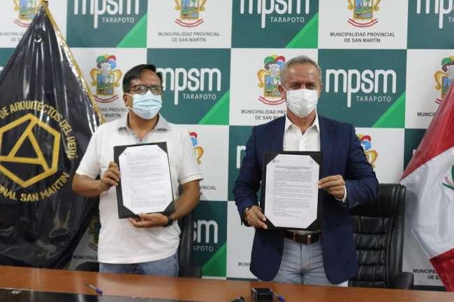 Municipalidad Provincial de San Martín firma convenio con el Colegio de Arquitectos del Perú –  San Martín.