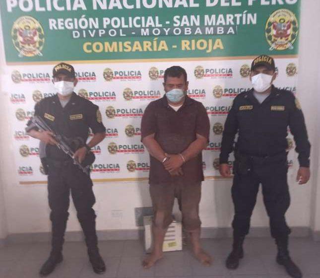 Efectivos de la Policía de la PNP Rioja: Capturan a extorsionador cuando intentaba fugarse