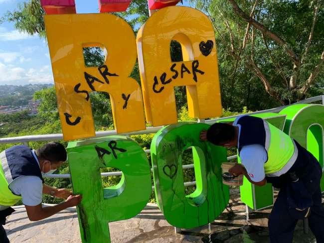 En Boulevar de Tarapoto, desadaptados pintan letras monumentales