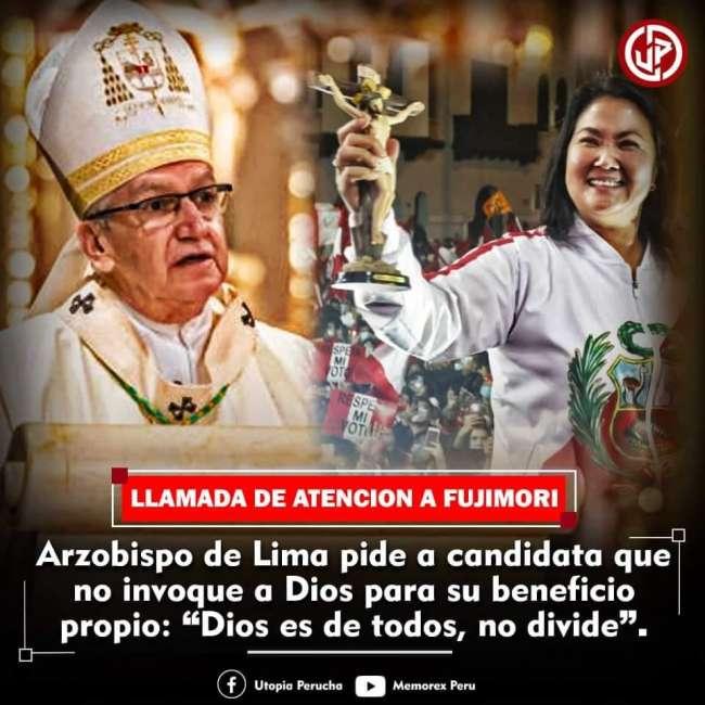 Arzobispo de Lima exhorta a partidos políticos a no invocar a Dios en favor de sí mismos