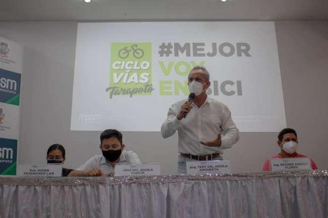 En conferencia de prensa se dio el relanzamiento del proyecto de la ciclovía en Tarapoto