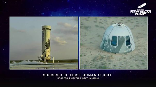 Jeff Bezos, el hombre más rico del planeta, logró viajar al espacio y volver a salvo con su compañía Blue Origin