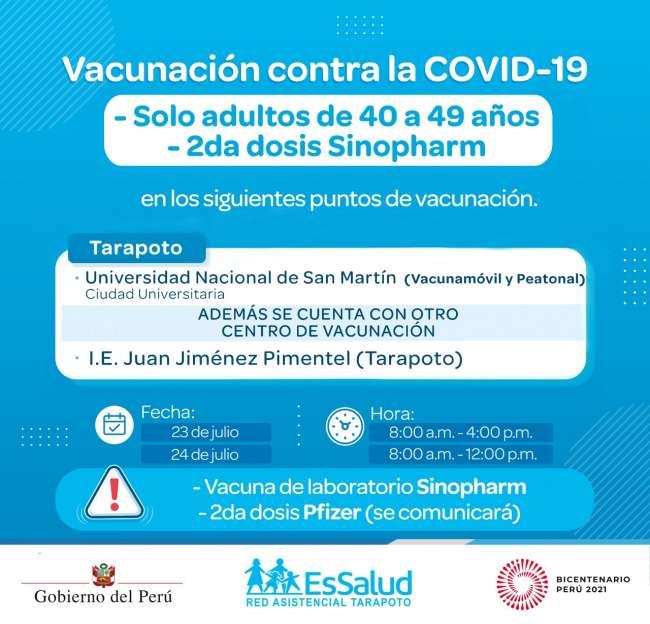 Jornada de vacunación reinicia el viernes 23