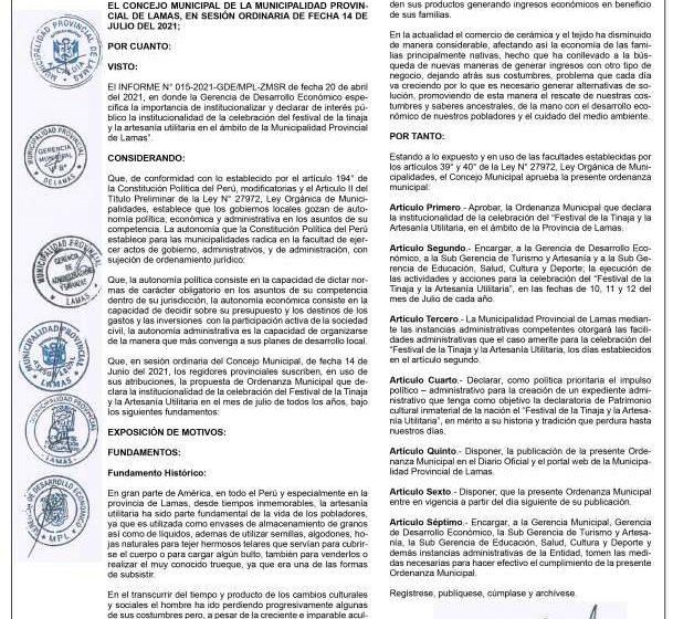 MUNICIPALIDAD PROVINCIAL DE LAMAS ORDENANZA MUNICIPAL Nº 013-2021/MPL
