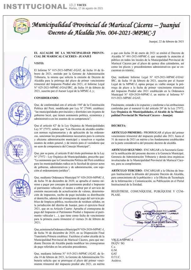 Municipalidad Provincial de Mariscal Cáceres – Juanjuí  / Decreto de Alcaldía Nº 004-2021