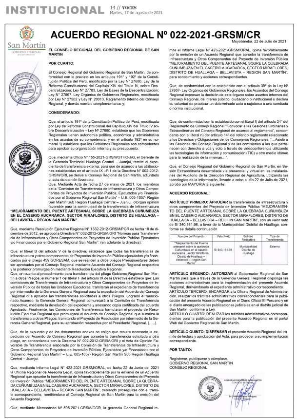 Acuerdo Regional Nº 023-2021-GRSM/CR