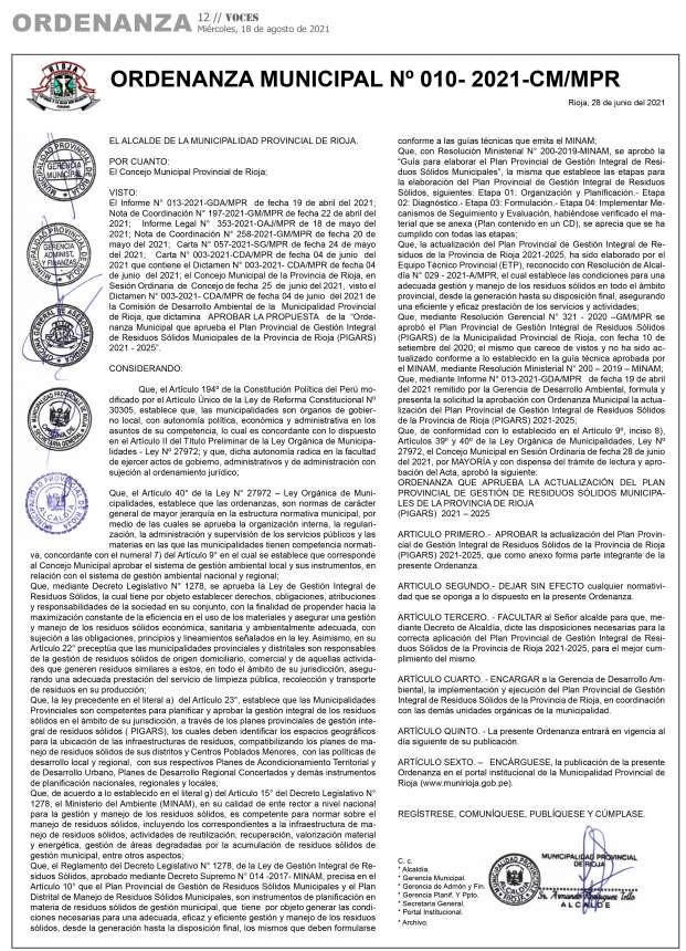 Municipalidad Provincial de Rioja Ordenanza Municipal Nº 010-2021-CM/MPR