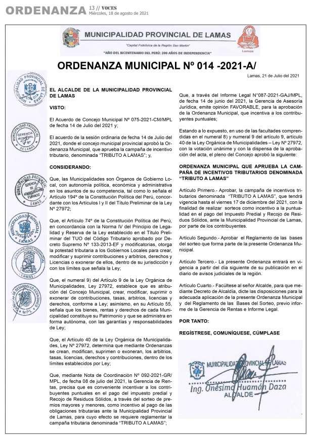 Municipalidad Provincial de Lamas Ordenanza Municipal Nº 014-2021-A y Reglamento de las bases de sorteo de campaña tributaria