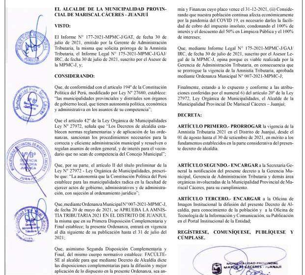 Municipalidad Provincial de Mariscal Cáceres- Juanjuí Decreto de Alcaldía Nº 004-2021