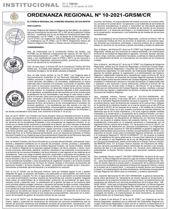 Ordenanza Regional Nº 10-2021-GRSN/CR