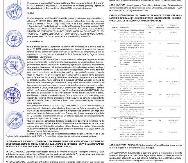 Municipalidad Provincial de Mariscal Cáceres- Juanjui: Ordenanza Municipal Nº 011-2021 -MPMC-J