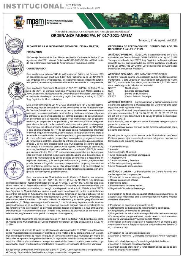 Municipalidad Provincial de San Martin: Ordenanza Municipal Nº 017-018-019-020-2021-MPSM