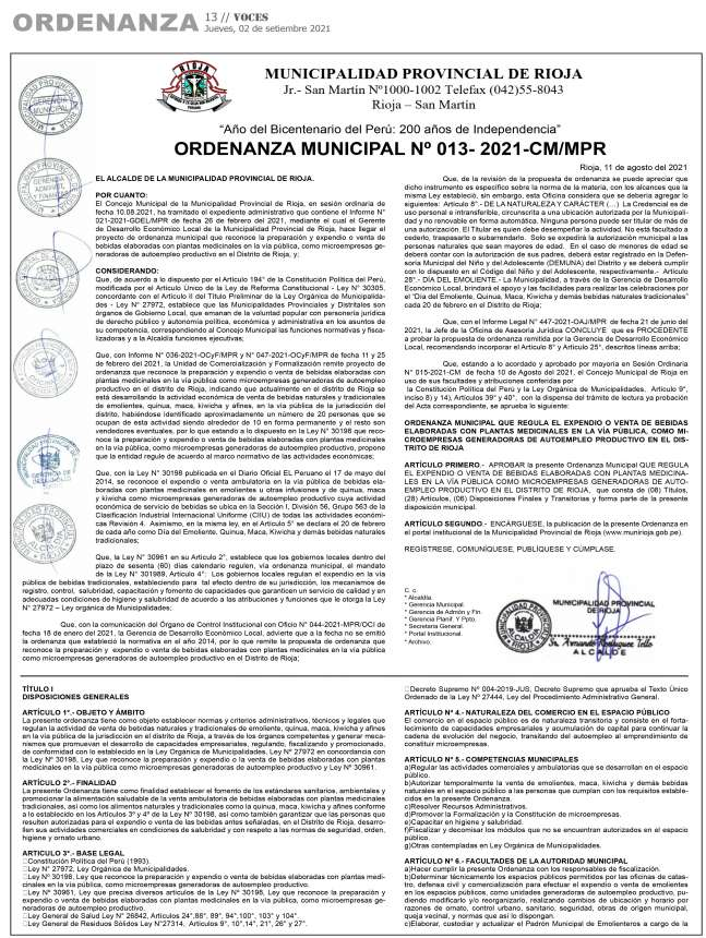 Municipalidad Provincial de Rioja:  Ordenanza Municipal Nº 013-2021-CM/MPR