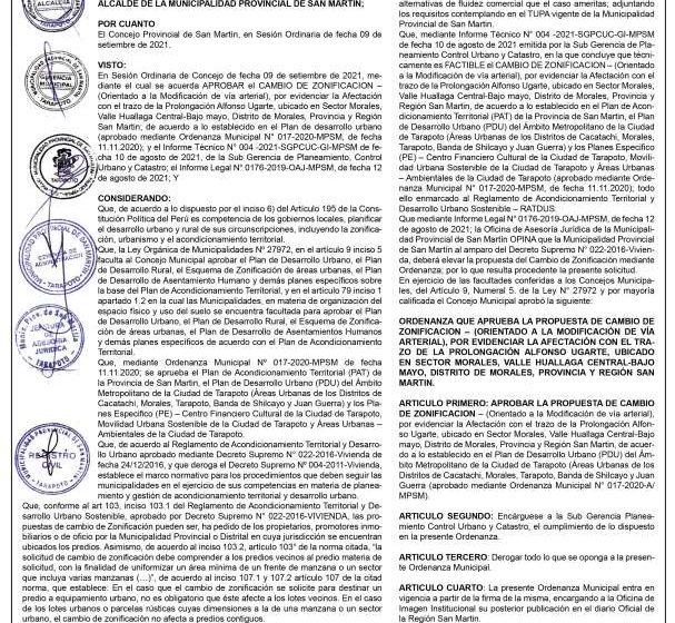 Municipalidad Provincial de San Martin: Ordenanza Municipal Nº023-024-2021-MPSM